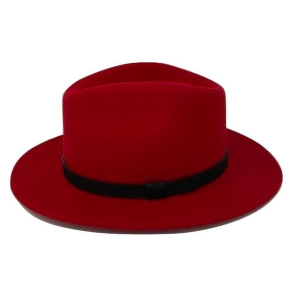 Fedora Hat Crushable Wool Felt with leather band - Red - Haydock
